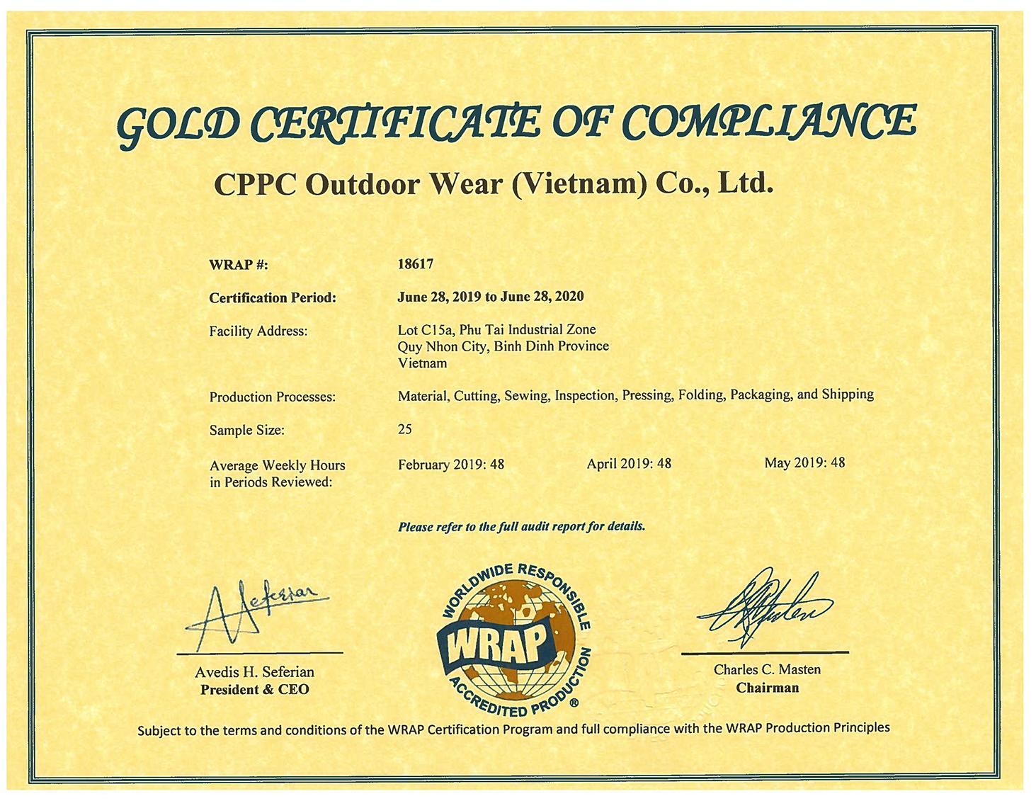 2019-06-28 Certificate 18617 (Gold) CPPC Outdoor Wear (Vietnam) Co